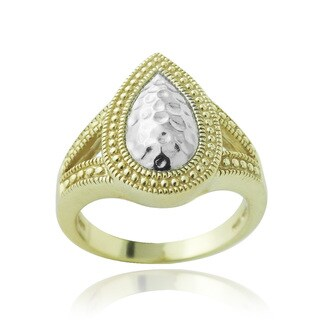 Mondevio Two-tone Sterling Silver Framed Hammered Teardrop Ring
