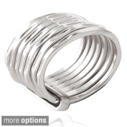 Mondevio Sterling Silver Hammered Attached Stacked Ring