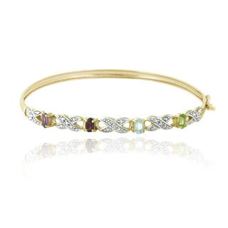 Glitzy Rocks 18k Gold over Silver Multi-gemstone Diamond Accent Infinity Bangle
