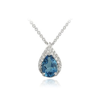Glitzy Rocks Silver London Blue Topaz and Cubic Zirconia Teardrop Necklace