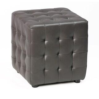 Cortesi Home Izzo Slate Grey Vinyl Cube Ottoman