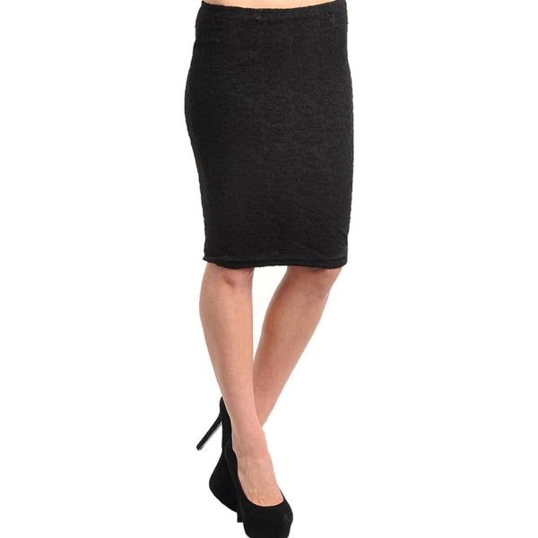 Stanzino Women's Black Lace Overlay Knee-length Skirt