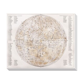 Gallery Direct 19th Century Vintage Map of the Moon Oversized Gallery Wrapped Canvas