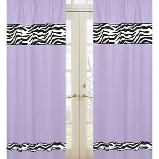 Sweet Jojo Designs Purple, Black and White 84-inch Window Treatment Curtain Panel Pair for Purple Funky Zebra Collection