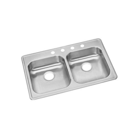 """Elkay Dayton Stainless Steel 33"""" x 21-1/4"""" x 5-3/8"""", Equal Double Bowl Top Mount Sink"""