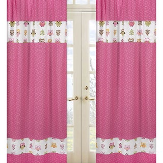 Sweet Jojo Designs Pink, Taupe, Brown, Yellow and Green 84-inch Window Treatment Curtain Panel Pair for Happy Owl Collection
