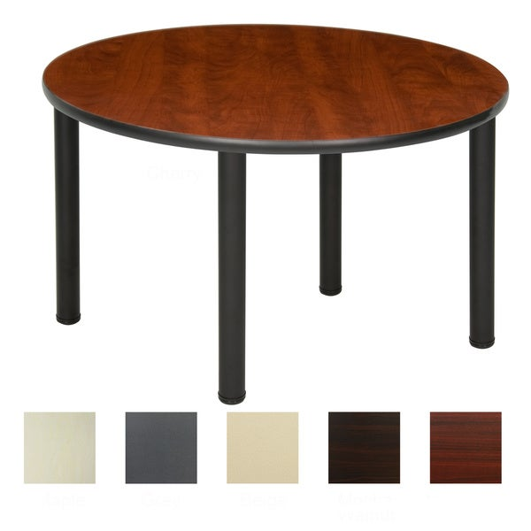 42-inch Round Table with Black Post Legs