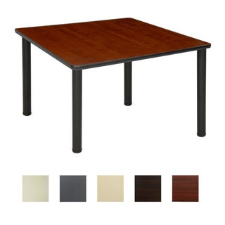 36-inch Square Table with Black Post Legs