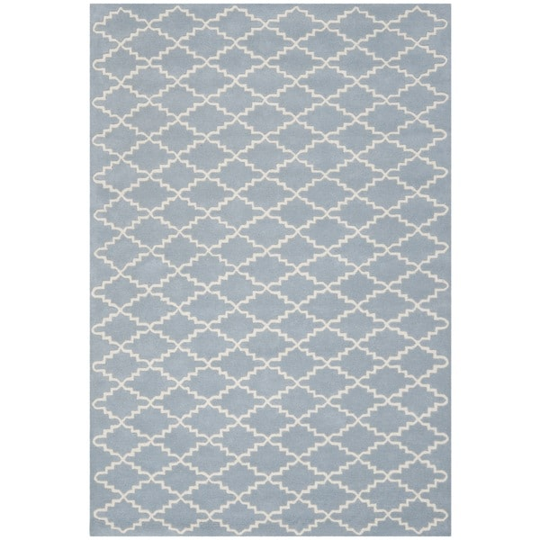 Safavieh Handmade Moroccan Blue/Ivory Wool Rug - 8'9' x 12'