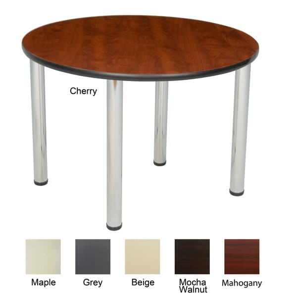 36-inch Round Table with Chrome Post Legs