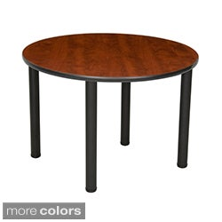 36-inch Round Table with Black Post Legs