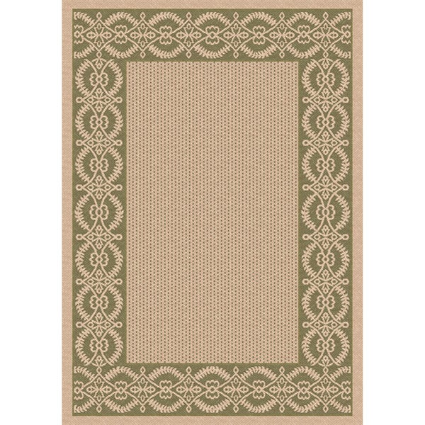 Woven Indoor/ Outoor Patio Rug Barrymore Beige and Green Area Rug (4'4 x 6'1)