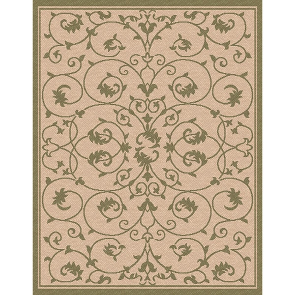 Woven Indoor/ Outoor Patio Rug Antibes Beige and Green Area Rug (4'4 x 6'1)