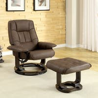 Furniture of America Chocolate Leatherette Swivel Recliner with Ottoman Set
