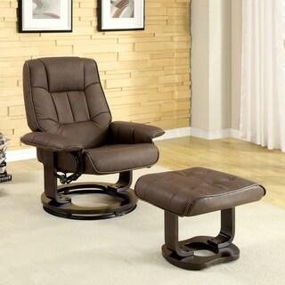 Furniture of America Deak Brown 2-piece Recliner and Ottoman Set