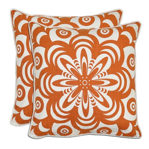 Kosas Home Bella Flower Burst Linen Down Throw Pillows (Set of 2)