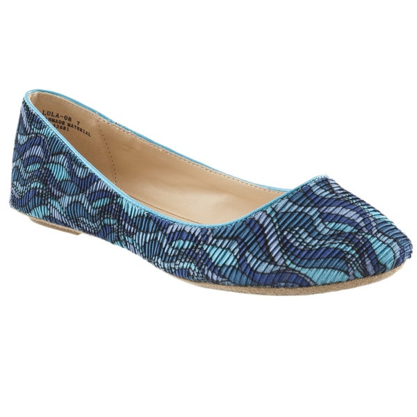 Riverberry Women's 'Lula' Turquoise Patterned Crinkle Fabric Ballet Flats