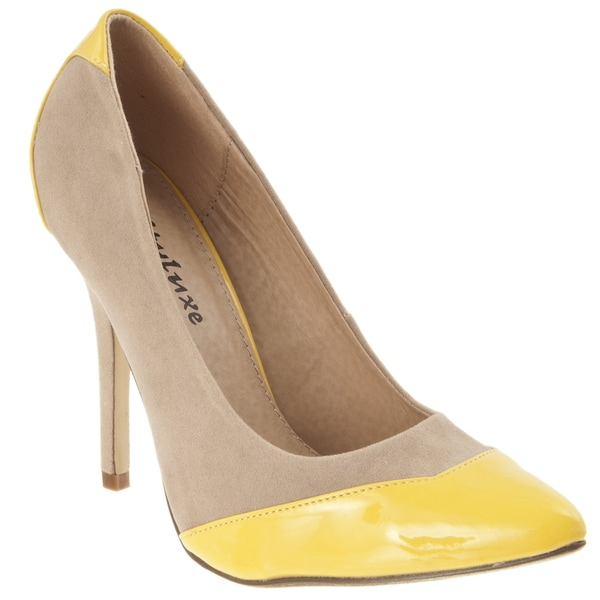 Riverberry Women's 'Paggy' Camel Two-tone Pointed Toe Stiletto Heels