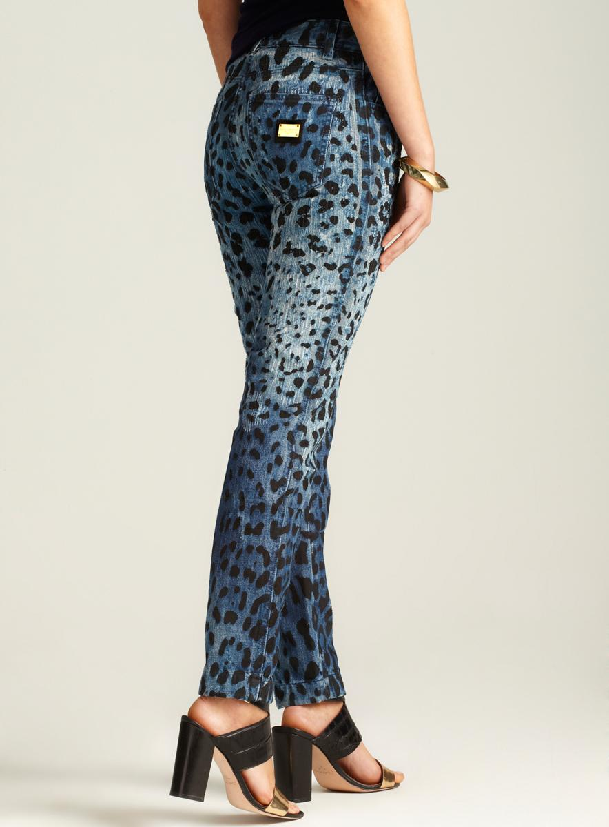 Dolce & Gabbana Animal Print Denim Pant