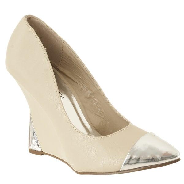 Riverberry Women's 'Zenon' Beige Pointed Toe Wedge Heels