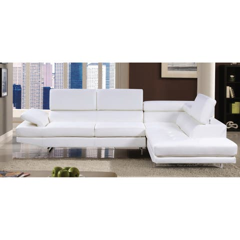 Furniture of America Contemporary 2-piece Leather Sectional with Adjustable Headrest
