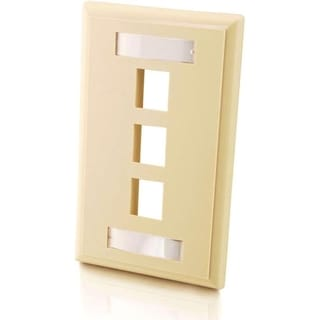 C2G 3-Port Single Gang Multimedia Keystone Wall Plate - Ivory