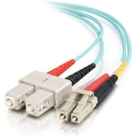 C2G-1m LC-SC 10Gb 50/125 OM3 Duplex Multimode PVC Fiber Optic Cable (