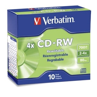 Verbatim CD-RW 700MB 2X-4X with Branded Surface - 10pk Slim Case - TA