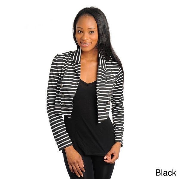 Stanzino Women's Black and White Stripe Cropped Jacket