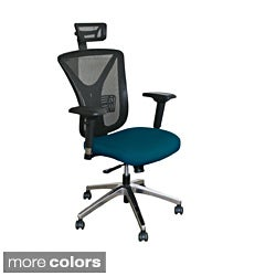 Executive Adjustable-Height Mesh Chair with Aluminum Base and Headrest