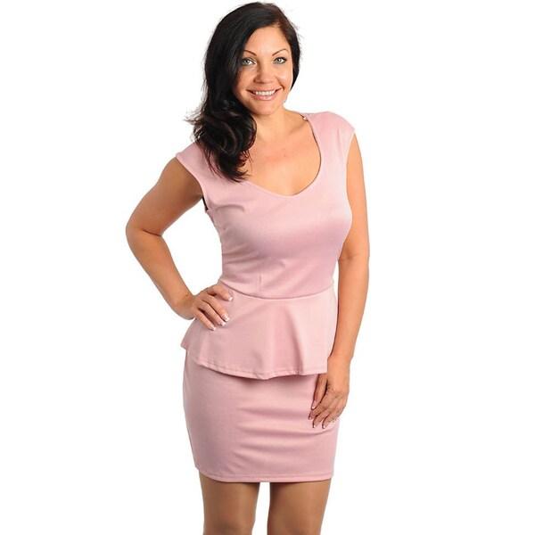 Shop Stanzino Women\'s Plus Size Pink Peplum Dress - Free Shipping On ...