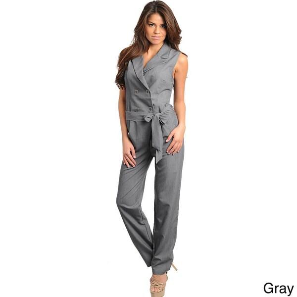 Stanzino Women's Sleeveless Button-front Jumpsuit