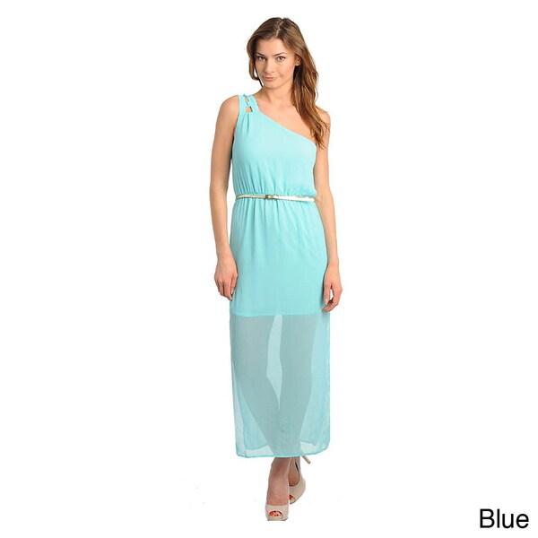 Stanzino Women's Single Shoulder Skinny Belted Maxi Dress