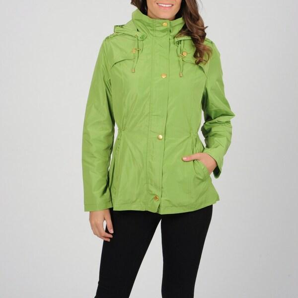 Utex Women's Light Green Water-resistant Hooded Anorak