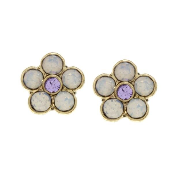 Betsey Johnson Opal Small Flower Stud Earrings