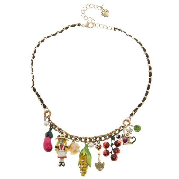 Betsey Johnson Farm Girl Charm Necklace