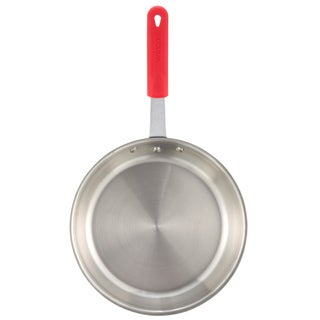 Winco Apollo 10-Inch 3-Ply Fry Pan with Red Silicone Sleeve Handle