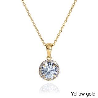 Annello by Kobelli 14k Gold 1 1/10ct TGW Round Moissanite (H-I) and Diamond Halo Necklace