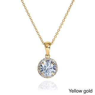 Annello by Kobelli 14k Gold 1ct Round Moissanite and 1/10ct TDW Diamond Necklace (G-H, I1-I2)