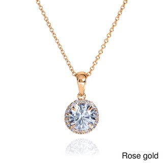 Annello by Kobelli 14k Gold 1 1/10ct TGW Round Moissanite (H-I) and Diamond Halo Necklace
