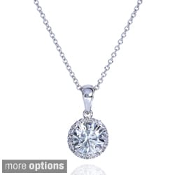 Annello 14k Gold Round Moissanite and 1/10ct TDW Diamond Necklace (G-H, I1-I2)