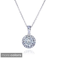 Annello 14k Gold Round Moissanite and 1/6ct TDW Round Diamond Necklace (G-H, I1-I2)