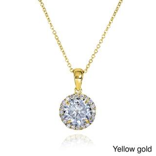 Annello by Kobelli 14k Gold 7.5mm Round Moissanite and 1/6ct TDW Round Diamond Necklace (G-H, I1-I2)