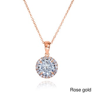 Annello by Kobelli 14k Gold 1 5/8ct TGW Round Moissanite (H-I) and Diamond Halo Necklace (Option: Rose)