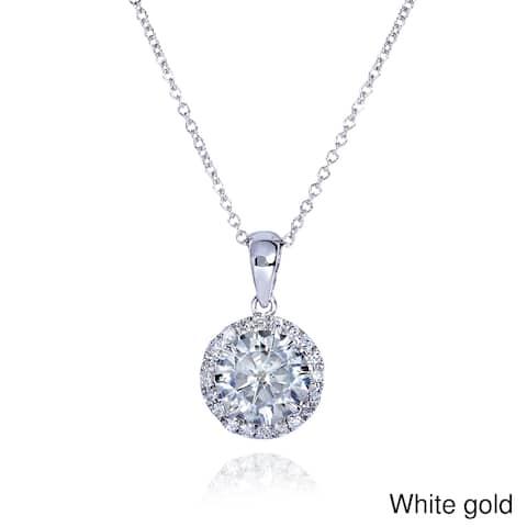 Annello by Kobelli 14k Gold 1 5/8ct TGW Round Moissanite (H-I) and Diamond Halo Necklace
