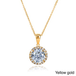 Annello by Kobelli 14k Gold Round Moissanite and 1/6ct TDW Diamond Necklace (G-H, I1-I2)