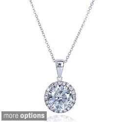 Annello by Kobelli 14k Gold 2ct TGW Round Moissanite (H-I) and Diamond Halo Necklace