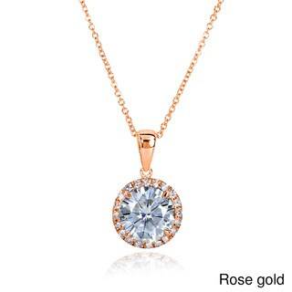 Annello by Kobelli 14k Gold 2ct TGW Round Moissanite (H-I) and Diamond Halo Necklace