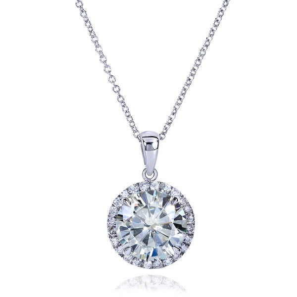 Annello by Kobelli 14k Gold 3 1/3ct TGW Round Moissanite (H-I) and Diamond Halo Necklace