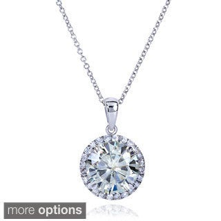Annello by Kobelli 14k Gold 3 1/3ct TGW Round Moissanite (H-I) and Diamond Halo Necklace